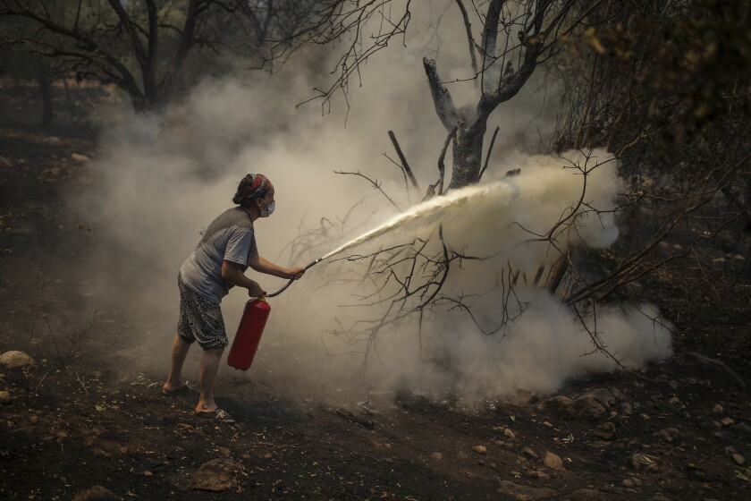 A woman uses a fire extinguisher to save a burning tree in Cokertme village, near Bodrum, Mugla, Turkey, Tuesday, Aug. 3, 2021. As fire crews' pressed ahead with their weeklong battle against blazes tearing through forests and settlements on Turkey's southern coast on Tuesday, President Recep Tayyip Erdogan's government faced increased criticism over its apparent poor response and inadequate preparedness for large-scale wildfires. (AP Photo/Emre Tazegul)