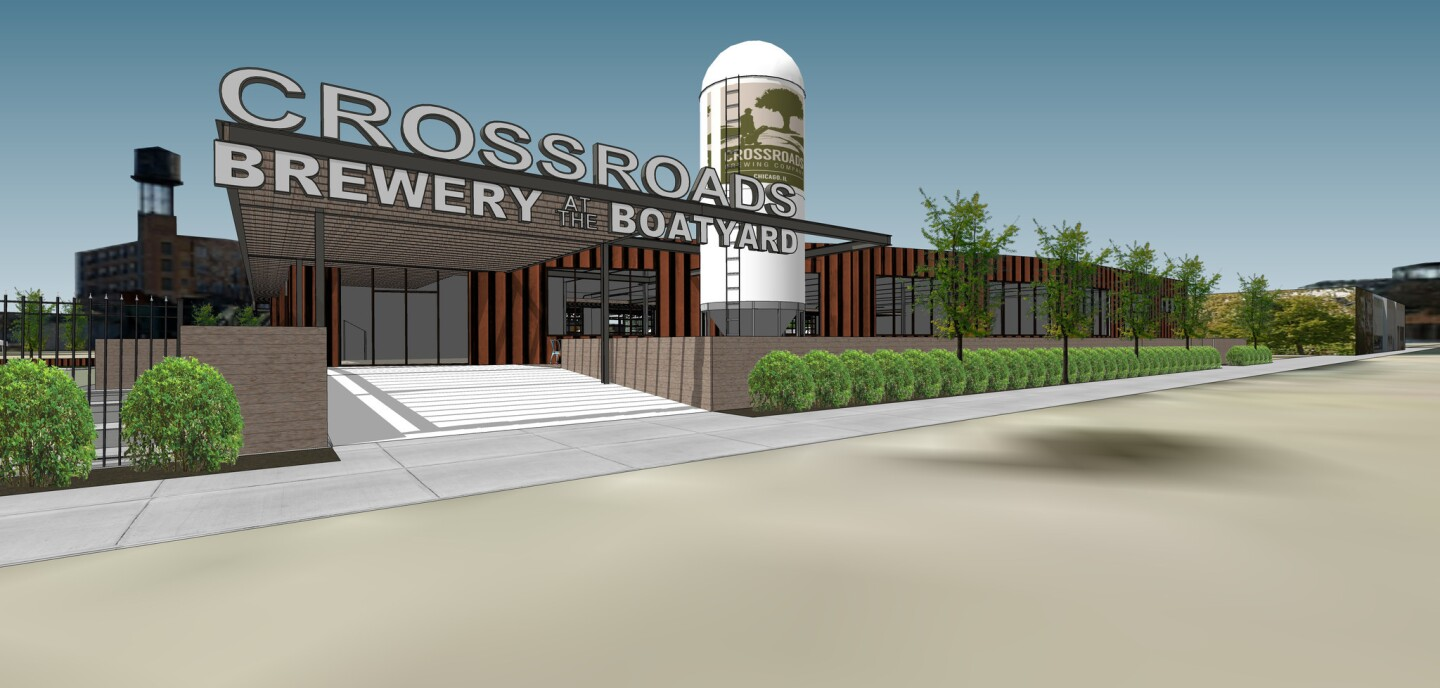 A rendering of Crossroads Brewery at the Boatyard planned on the site of the Goose Island Boat Yard, at 934 N. North Branch Street.