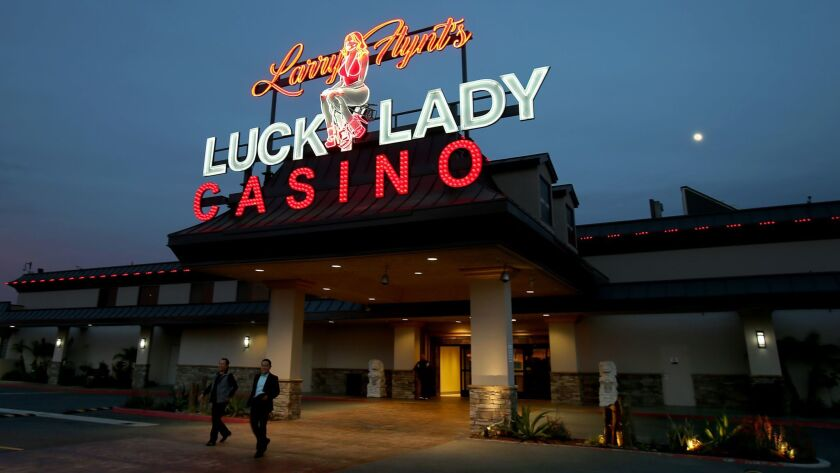 The exterior of Larry Flynt's Lucky Lady Casino in Gardena. The working-class city hopes Flynt's investment in the casino pays off for Gardena.