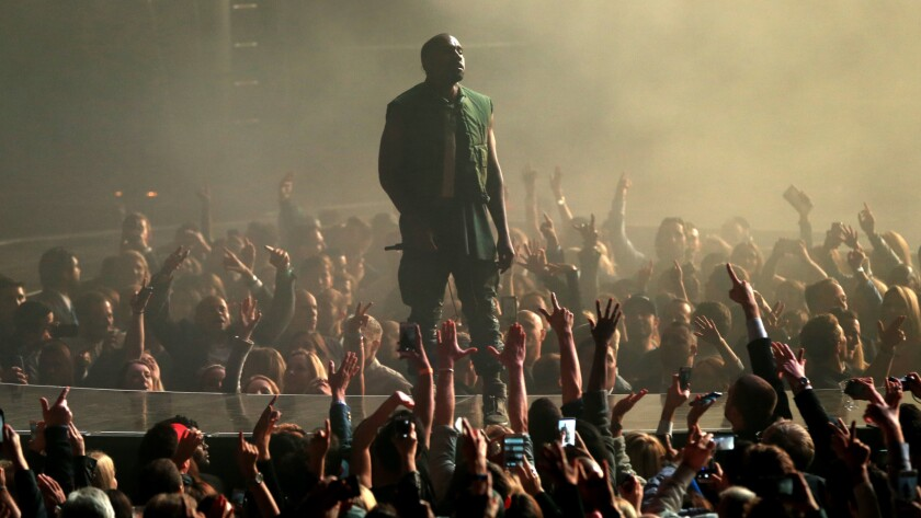Kanye West performs at the DirecTV Super Bowl party in Glendale, Ariz., on Jan. 31.