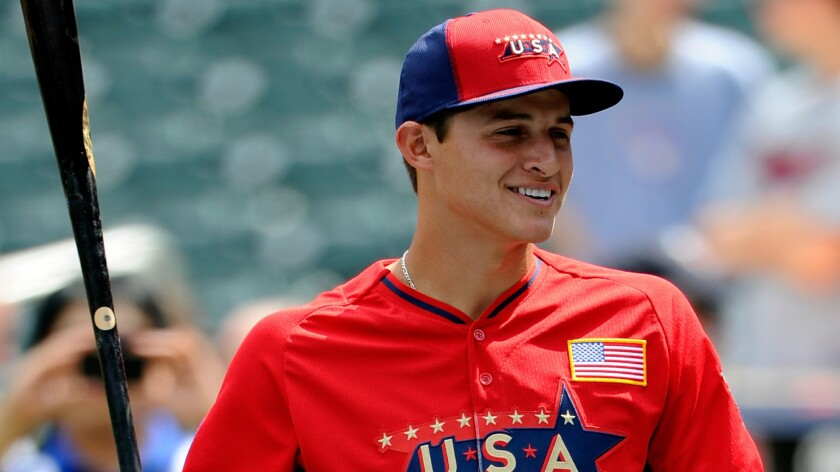 Dodgers prospect Corey Seager looks on during batting practice before the Futures Game at Target Field in Minneapolis on Sunday. Seager has had a strong season playing for Class-A Rancho Cucamonga in the California League.