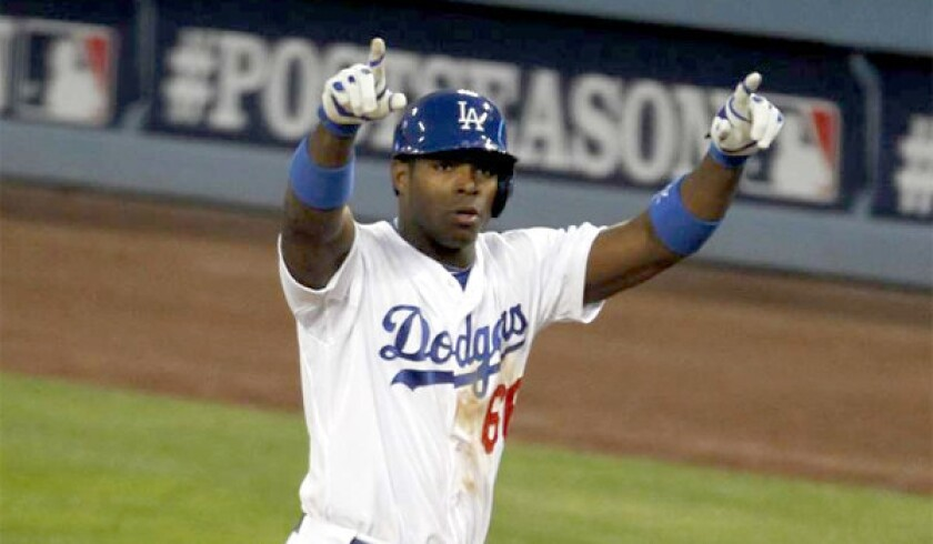 Teams at the general managers' winter meeting have made inquiries into the availability of Dodgers right fielder Yasiel Puig as well as outfielders Matt Kemp, Andre Ethier and Carl Crawford.