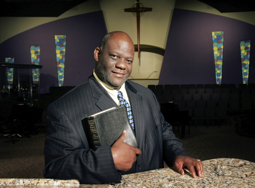 The Rev. Dwight McKissic poses for a portrait inside Cornerstone Baptist Church in Arlington, Texas, in 2006.