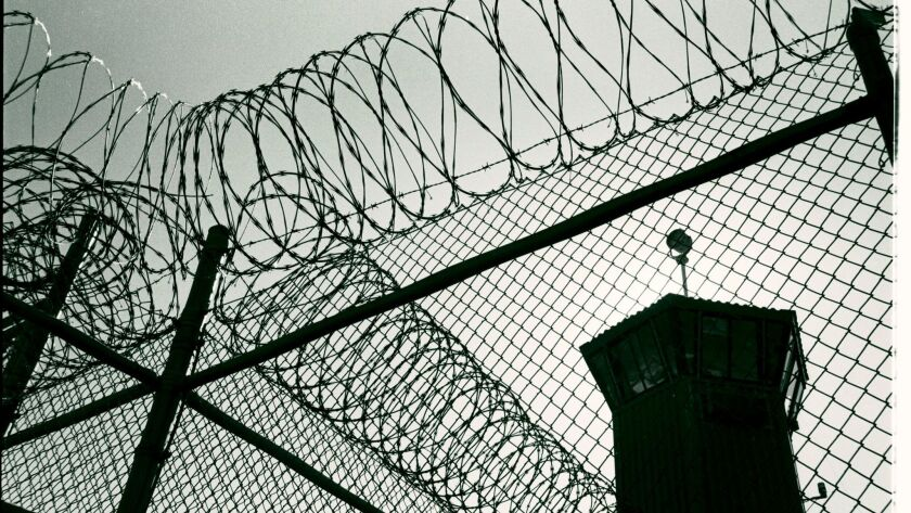 CRESCENT CITY , CA., OCTOBER 13, 2012: Tall fences and razor wire encircle Pelican Bay State Prison