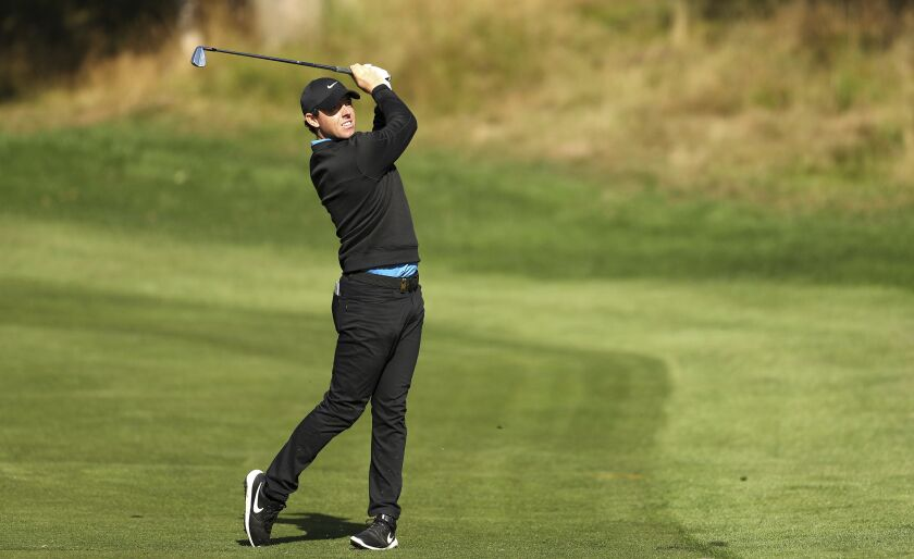 Northern Ireland's Rory McIlroy in action on day two of the PGA Championship at Wentworth Golf Club, England, Thursday Sept. 19, 2019. (Bradley Collyer/PA via AP)
