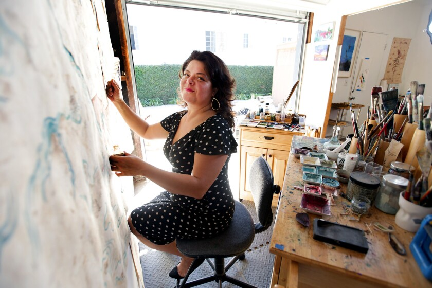 LOS ANGELES, CA., OCTOBER 1, 2018 --- In creating her large scale paintings, artist Sandy Rodriguez