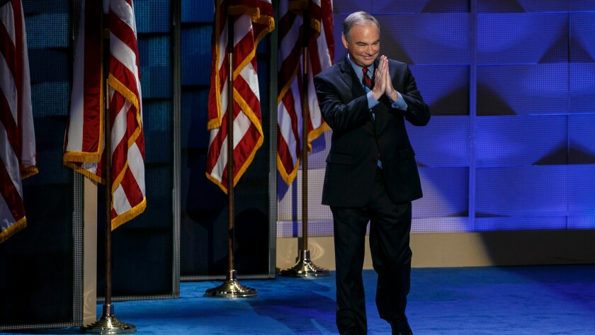 Vice presidential nominee Tim Kaine arrives to speak at the 2016 Democratic National Convention in Philadelphia on July 27.