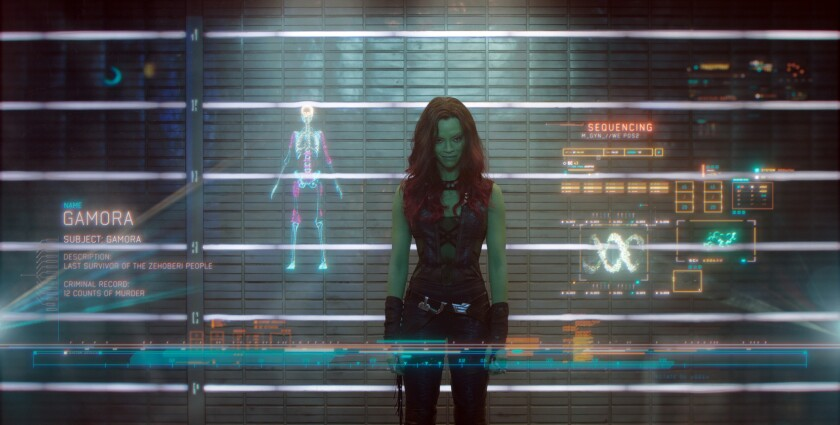 "Zoe Saldana in a scene from Marvel's ""Guardians Of The Galaxy."""