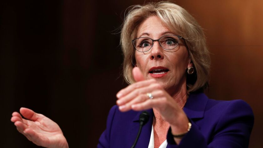Betsy DeVos testifies on Capitol Hill in January.