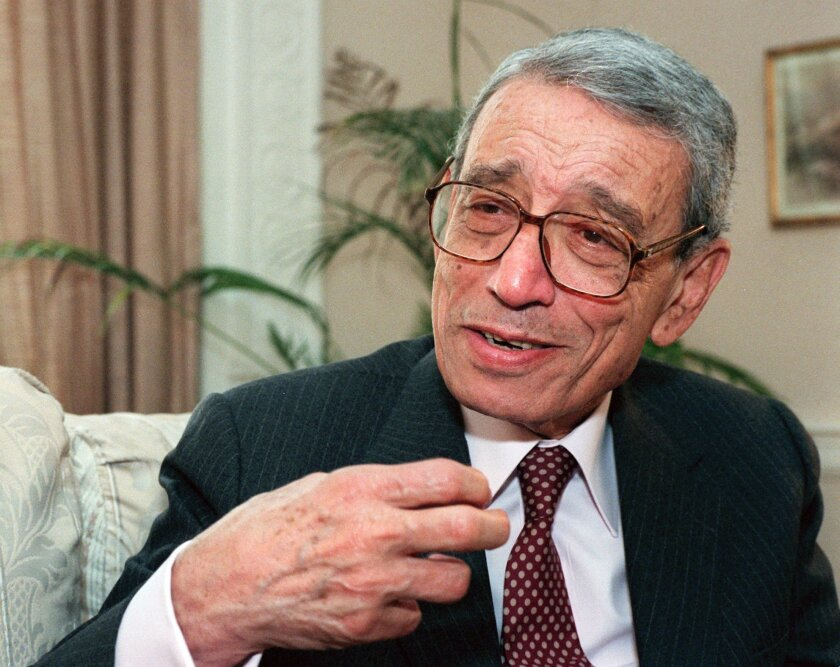 FILE - In this May 27, 1997 file photo, former United Nations Secretary-General Boutros Boutros-Ghali gestures during an interview with the Associated Press on Wednesday, May 21, 1997 in New York.  he U.N. Security Council has announced on Tuesday, Feb.  16, 2016 the death of former U.N. Secretary-