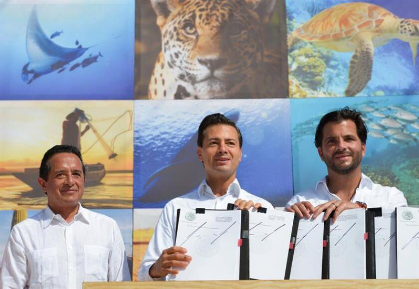 El Gobierno mexicano triplicó hoy la zona natural protegida del país con la firma de cuatro decretos presidenciales que protegen 65 millones de hectáreas tanto marítimas como terrestres. EFE/PRESIDENCIA DE MÉXICO/SOLO USO EDITORIAL