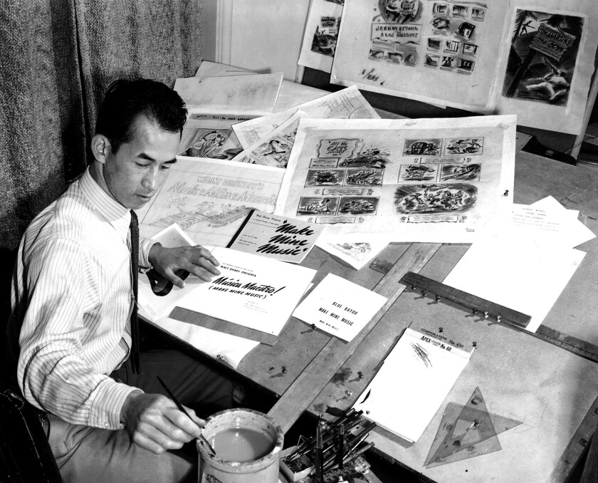 Milton Quon at the Walt Disney Studios in Burbank circa 1946.