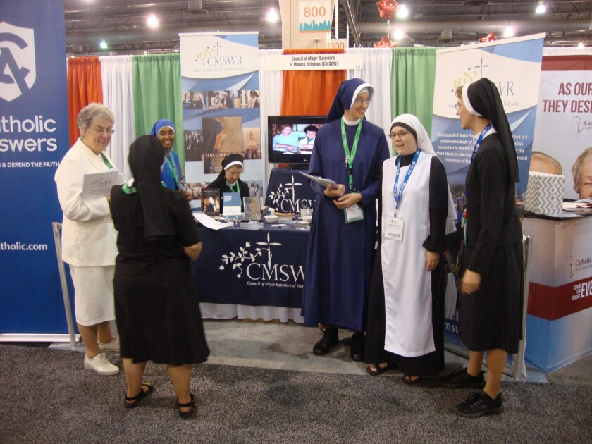 Nuns gather for the World Meeting of Families in Philadelphia, which Pope Francis will attend Saturday. Sister Susan Francis Graham, 30, of New Haven, Conn., is at far right.
