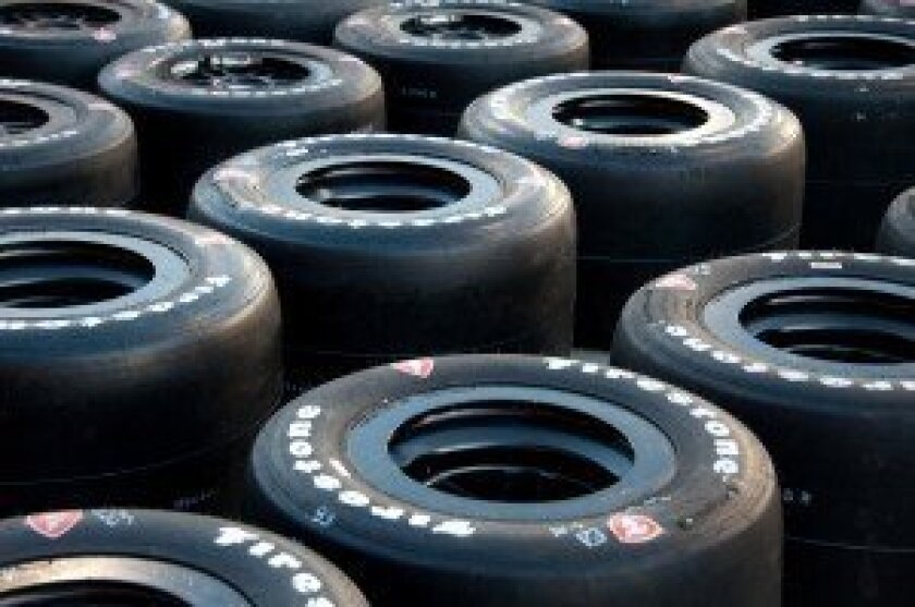 Race tires ready in the pits