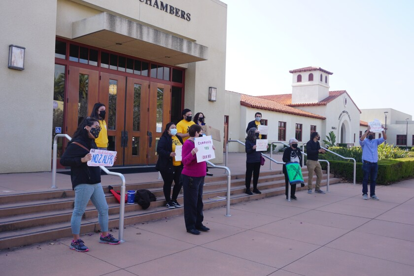 Chula Vista residents protested against the license plate reader program outside Chula Vista's Council Chambers Tuesday