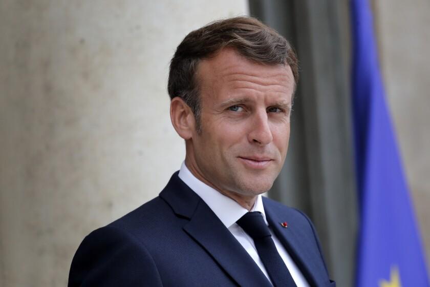 El presidente francés Emmanuel Macron en el Palacio del Elíseo, el 15 de julio de 2020.