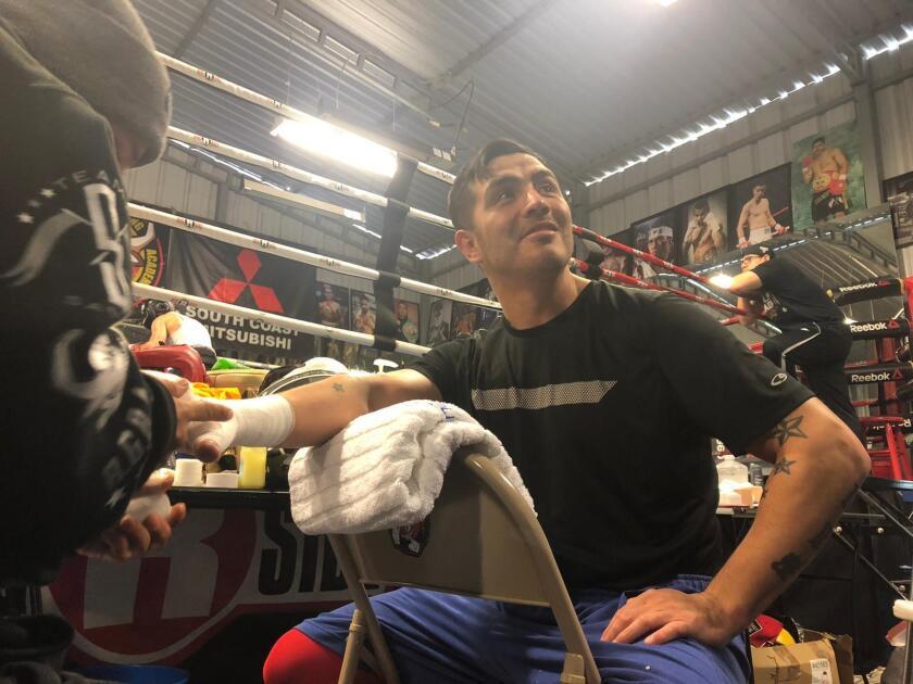 Brandon Ríos durante su entrenamiento.
