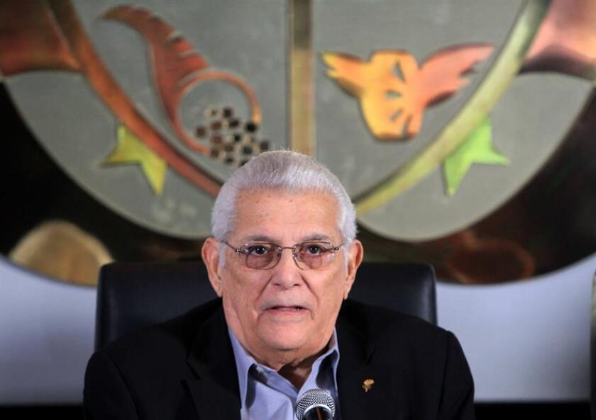 El presidente de la Organización Deportiva Centroamericana y del Caribe (ODECABE), Héctor Cardona, participa de una rueda de prensa. EFE/Archivo