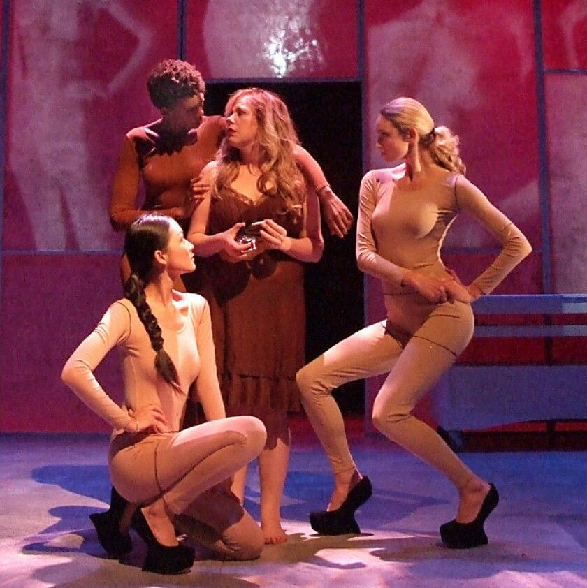 "(l to r) Candice Lam, Chelsea Fryer, Kirsten Vangsness and Allegra Rose Edwards in ""Everything You Touch"" at Boston Court Performing Arts Center"