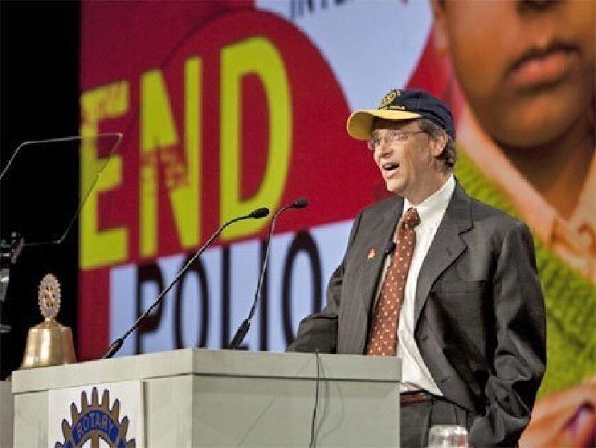 Microsoft Chairman Bill Gates addressed a Rotary International  conference yesterday at the Manchester Grand Hyatt hotel in  downtown San Diego.  (Monika Lozinska Lee / Rotary International)
