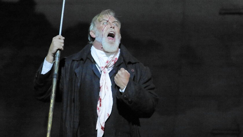 """Jay Hunter Morris as Capt. Ahab in the dress rehearsal of Los Angeles Opera's """"Moby Dick"""" at the Dorothy Chandler Pavilion."""