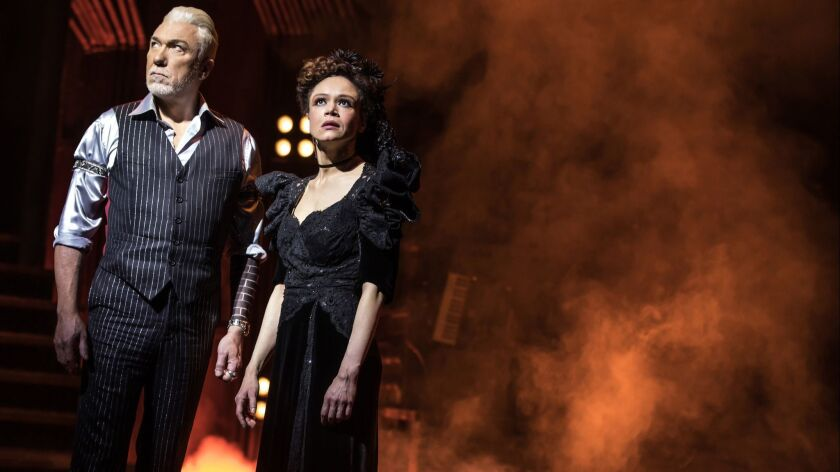 """(L-R)- Patrick Page and Amber Gray perform in """"Hadestown."""" Credit: Matthew Murphy"""