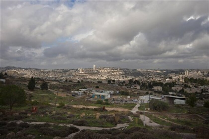 FILE - In this Wednesday, Dec. 5, 2012 file photo a general view of Givat Hamatos area is seen in east Jerusalem, Israel on Wednesday, Dec. 19, 2012 pressed forward with the construction of thousands of new homes in the West Bank and east Jerusalem, part of a series of new settlement plans that hav