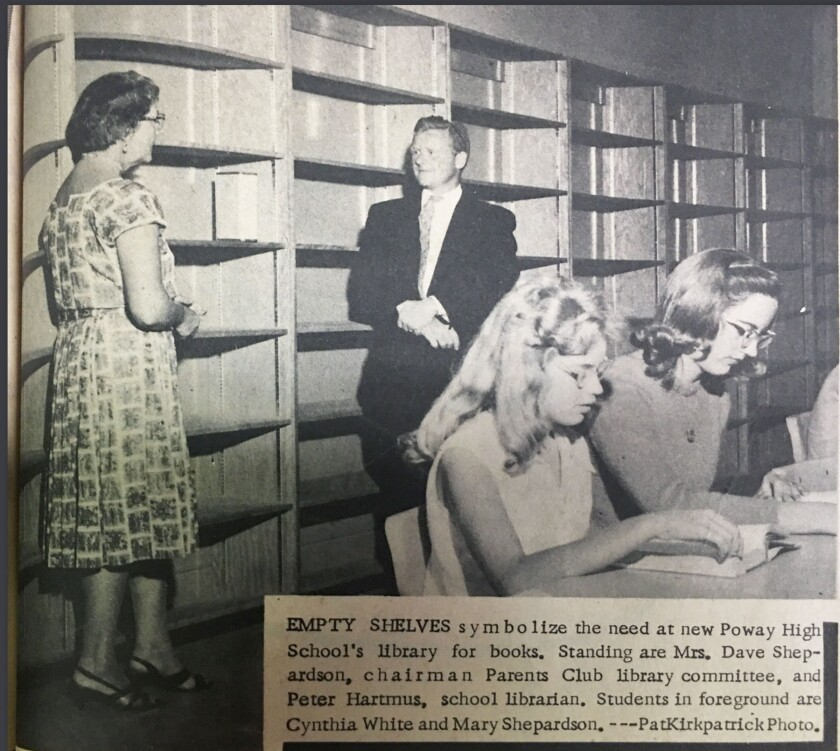 1961 newspaper photo at new Poway High School's library