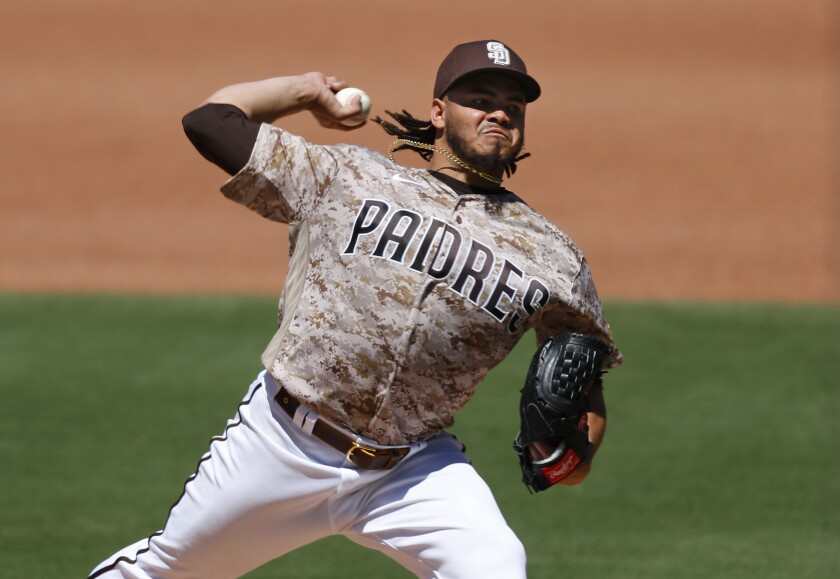 Padres pitcher Dinelson Lamet throws against the Diamondbacks on Sunday at Petco Park.