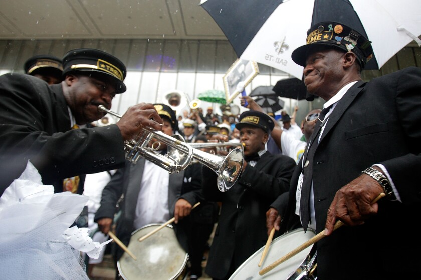 Jazz Funeral Held For Local Legend Bass Drummer Uncle Lionel Batiste