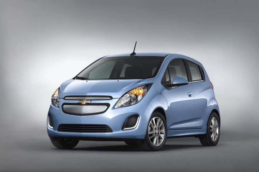 This undated image made available by General Motors shows the 2015 Chevrolet Spark EV. (GM via AP)