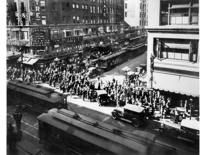 Nov. 1926: Corner of Seventh and Broadway in Los Angeles.