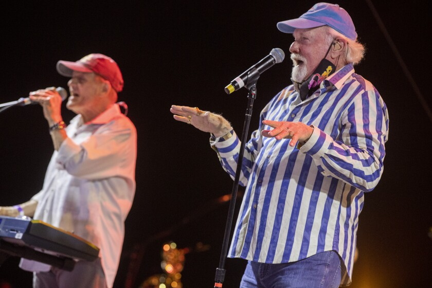 The Beach Boys Mike Love, right, and Bruce Johnston at the Ventura County Fairgrounds on Oct. 23, 2020 in Ventura, CA.