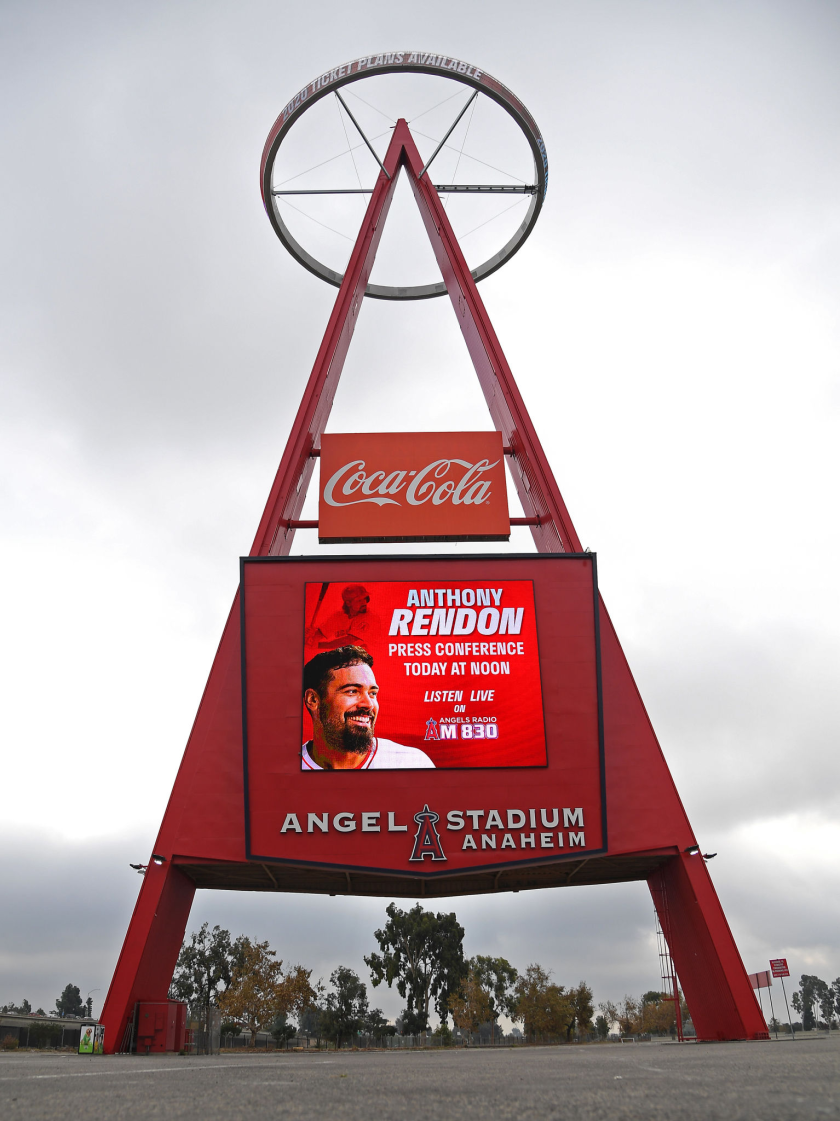 The Big A sign outside Angel Stadium.