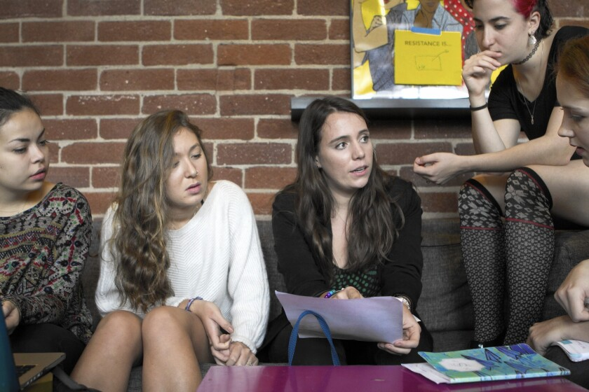 Scripps College students Nora McNeary, 20, left; Flora Field, 19; Alex Frumkin, 21; Eden Amital, 19; and Rebekah Manikowski, 20, discuss a push to broaden the women's college's admittance policy to include transgender students.