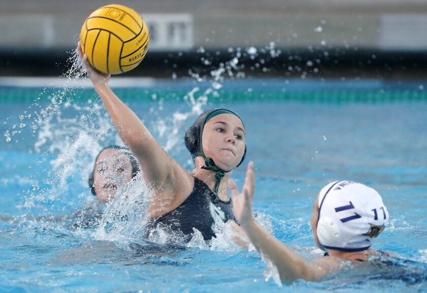Costa Mesa High's Sofia Rice shoots against Marina during the first half in a nonleague match at Cos