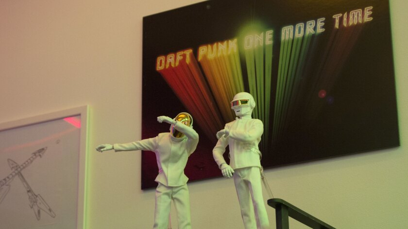 Daft Punk figurines are seen at the techno pop duo's shop on Melrose Avenue.