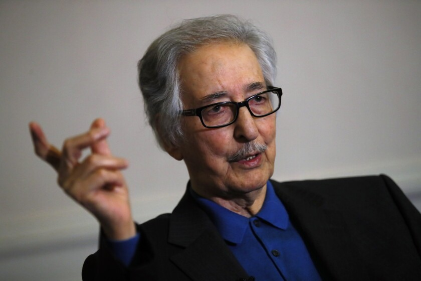 FILE — In this photo taken on Jan. 29 2019, former Iranian President, Abolhassan Banisadr, speaks during an interview with the Associated Press in Versailles, west of Paris, France. Banisadr, Iran's first president after the country's 1979 Islamic Revolution who fled Tehran after being impeached for challenging the growing power of clerics as the nation became a theocracy, died Saturday, Oct. 9. He was 88. (AP Photo/Francois Mori, File)