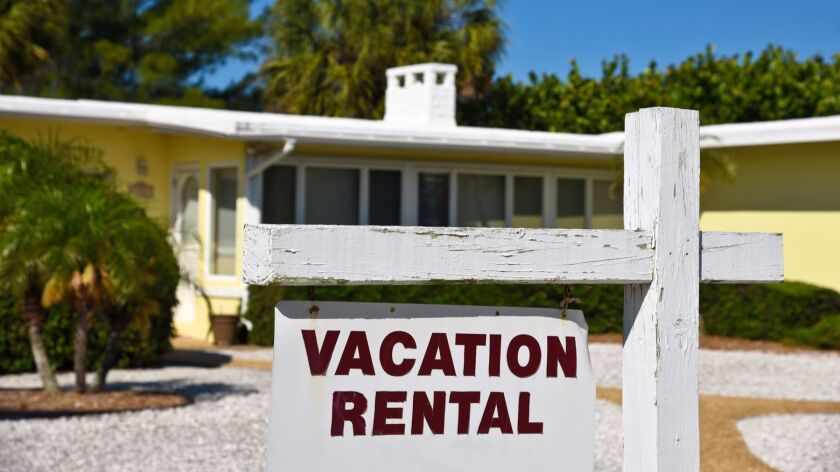 A vacation rental sign.