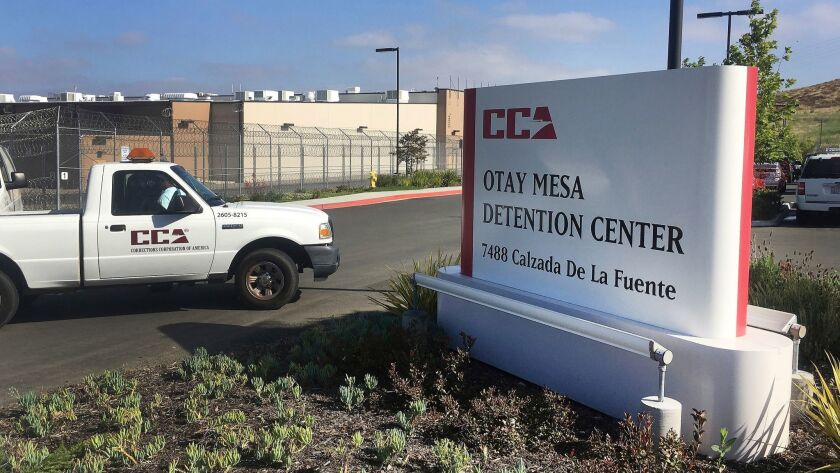 FILE - In this June 9, 2017, file photo, a vehicle drives into the Otay Mesa detention center in San