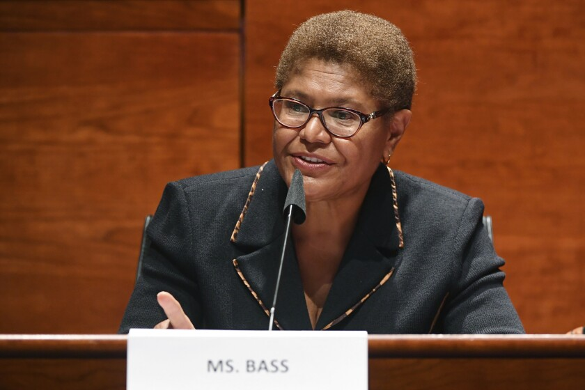 Rep. Karen Bass (D-Los Angeles) speaks at a committee hearing.