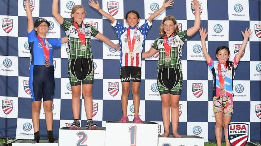 Natalie Wang on the winners' podium.