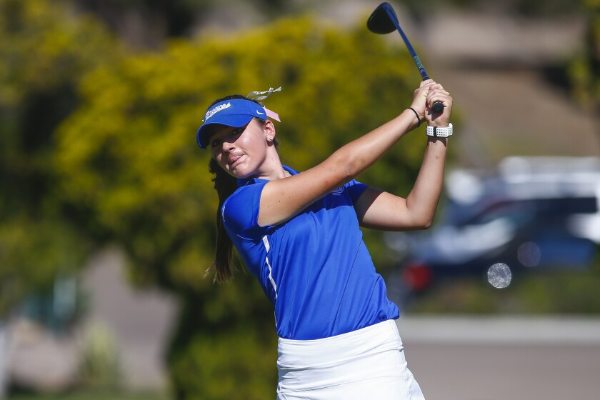 Rancho Bernardo's Lauren Coast tees off on the 1st hole of the Admiral Baker South Course.
