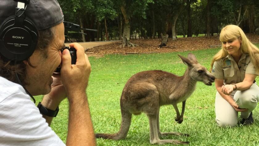 "Director Mick McIntyre and Terri Irwin on the set of the documentary ""Kangaroo: A Love-Hate Story."""