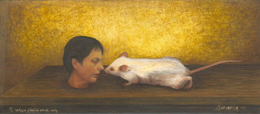 "Manianela de la Hoz: ""My Head Chats With Rats,"" 2010, Egg tempera and mixed media"