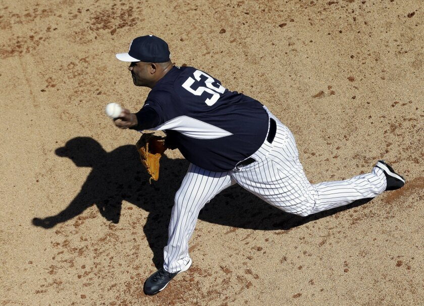New York Yankees starting pitcher CC Sabathia (52) throws in the bullpen during the first day of workouts for pitchers and catchers at spring training baseball, Saturday, Feb. 21, 2015, in Tampa, Fla.( AP Photo/Lynne Sladky)