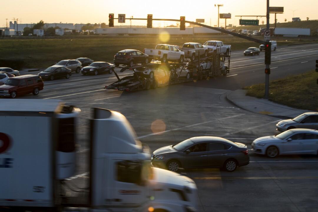 Fontana traffic includes plenty of trucks