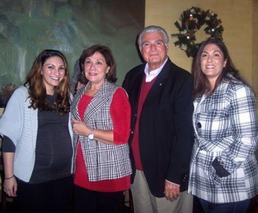Outgoing Solana Beach Mayor Joe Kellejian with his family: Lindsey, Mary and Kelli. Photo/Diane Welch