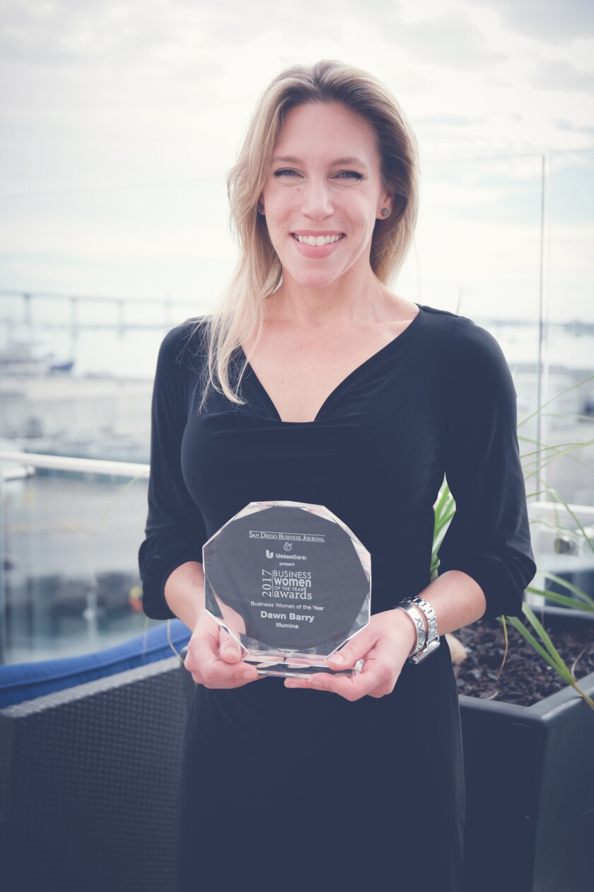 Dawn Barry with her 2017 Business Woman of the Year award from the San Diego Business Journal.