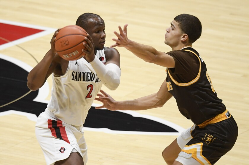 San Diego State guard Adam Seiko (2) passes in front of Wyoming guard Drake Jeffries (0) during the first half Saturday.